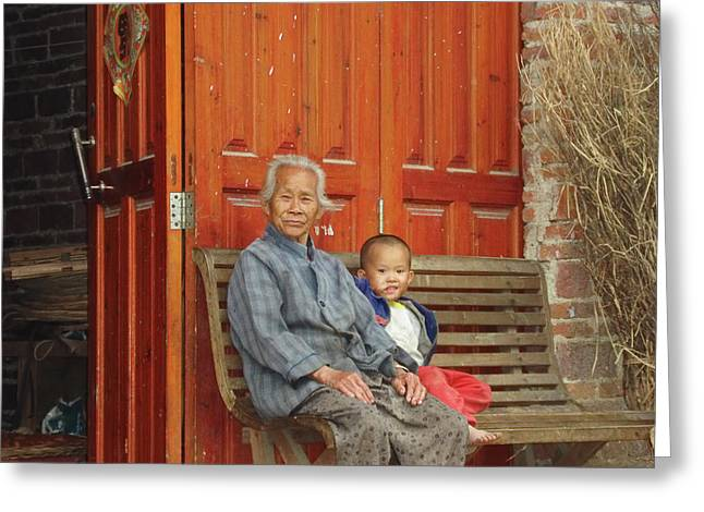 Jennifer Lam Greeting Cards - Grandmother and Little Boy Greeting Card by Jennifer Lam