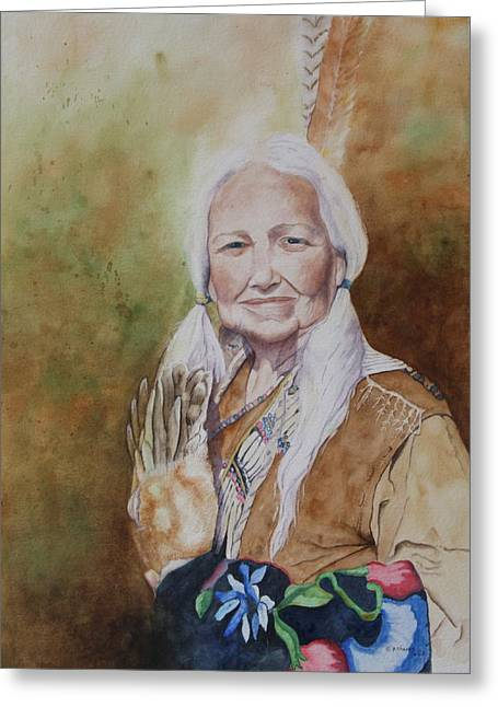Patsy Sharpe Paintings Greeting Cards - Grandmother Many Horses Greeting Card by Patsy Sharpe