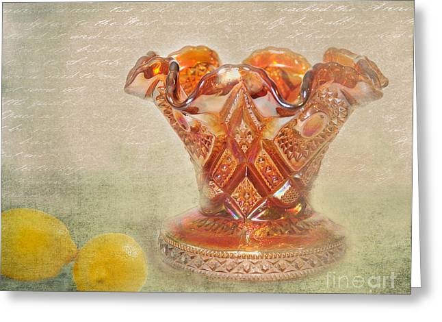 Cut Glass Greeting Cards - Grandmothers Vase Greeting Card by Betty LaRue