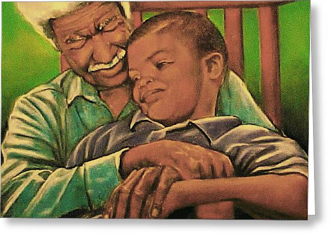 People Pastels Greeting Cards - Grandpa And Me Greeting Card by Curtis James