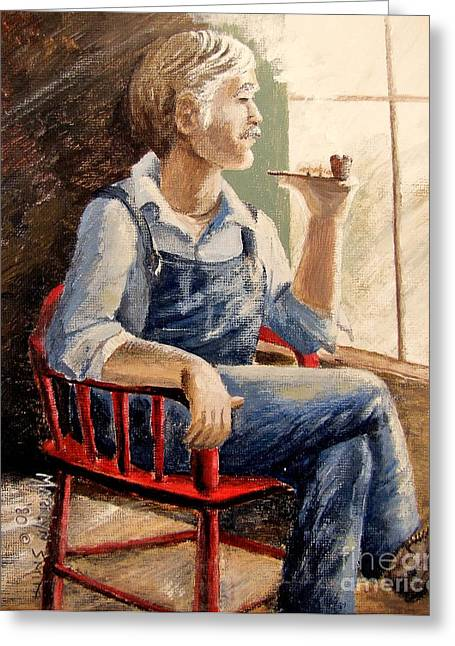 Portrait With Red Chair Greeting Cards - Grandpa Greeting Card by Marilyn Smith