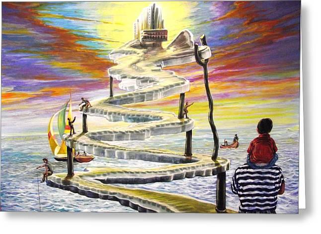 Artes Plasticas Greeting Cards - Grandpas Weird Stairway Greeting Card by Joe Santana