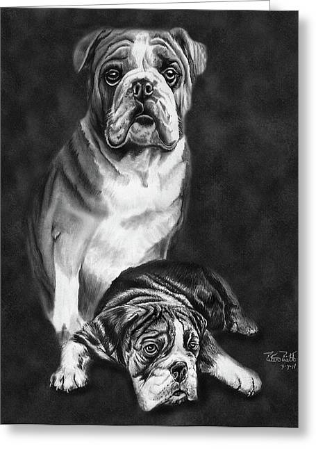 Charcoal Drawing Of Pets Greeting Cards - Grandson of Sampson Greeting Card by Peter Piatt