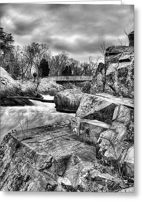 Kinetic Greeting Cards - Granite in Black and White Greeting Card by JC Findley
