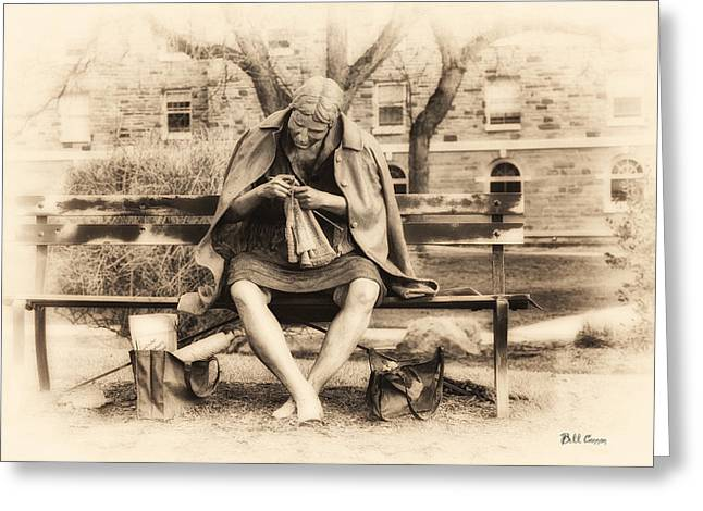 Granny Greeting Cards - Granny Sitting on a Bench Knitting Ursinus College Greeting Card by Bill Cannon