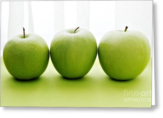 Fresh Food Greeting Cards - Granny Smith Apples Greeting Card by HD Connelly