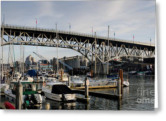 British Greeting Cards - GRANVILLE BRIDGE vancouver to granville island BC canada Greeting Card by Andy Smy