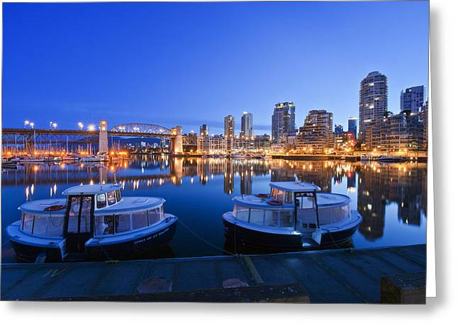 Vancouver Night Scene Greeting Cards - Granville Island At Dawn. The Vancouver Greeting Card by Rob Tilley