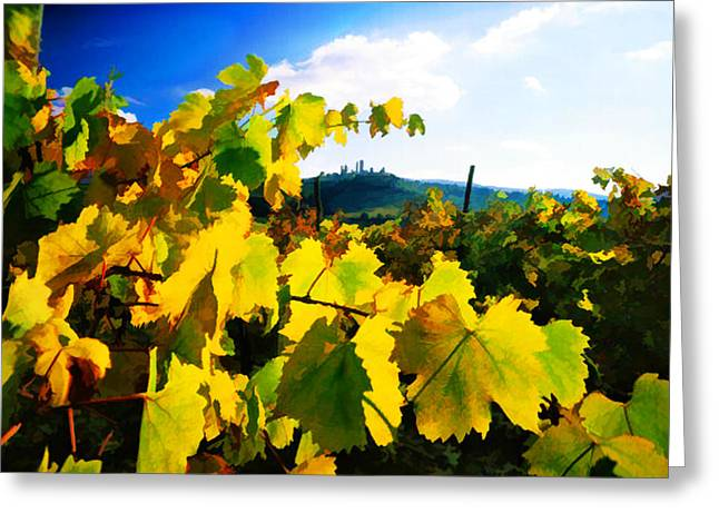 Sparkling Wine Digital Art Greeting Cards - Grape Leaves and the Sky Greeting Card by Elaine Plesser