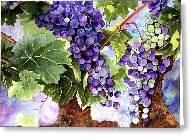 Grape Vines Greeting Card by Karen Casciani