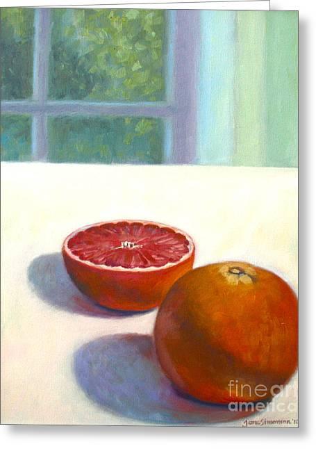 Grapefruit Paintings Greeting Cards - Grapefruits Greeting Card by Jane  Simonson