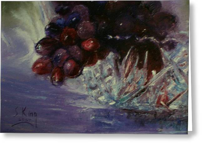 Stephen King Greeting Cards - Grapes and Glass Greeting Card by Stephen King