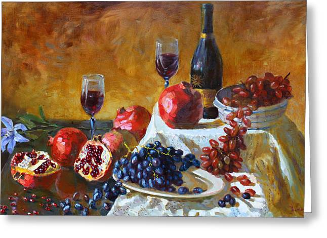 Table Greeting Cards - Grapes and Pomgranates Greeting Card by Ylli Haruni