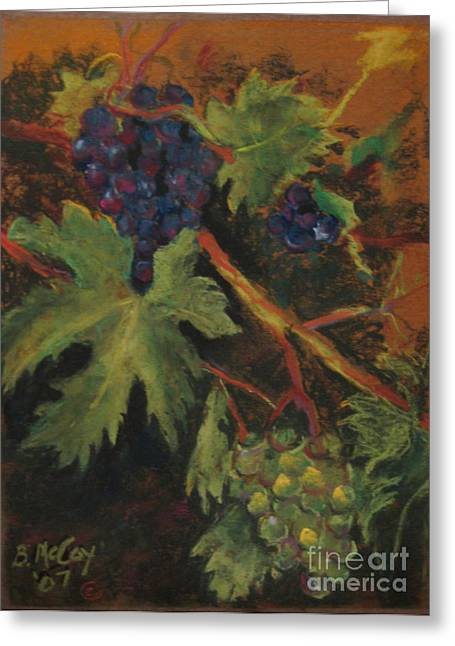 Grape Leaves Pastels Greeting Cards - Grapes Greeting Card by Brian McCoy