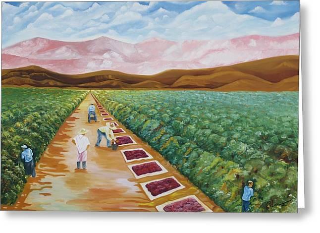 Grapes Farmers Greeting Card by Johnny Otilano