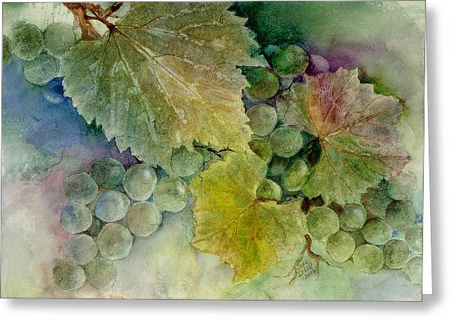 Blue Grapes Greeting Cards - Grapes II Greeting Card by Judy Dodds