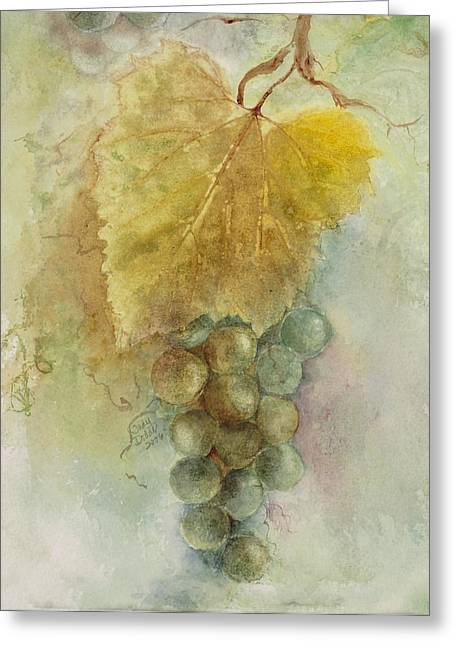 Grape Leaf Greeting Cards - Grapes III Greeting Card by Judy Dodds