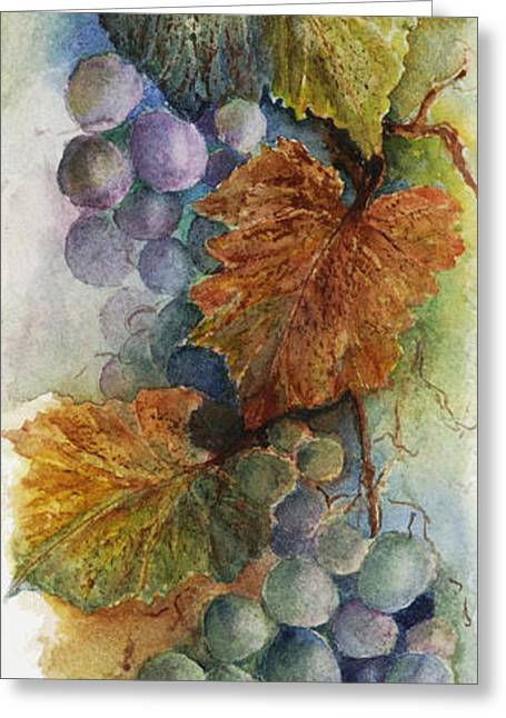 Blue Grapes Greeting Cards - Grapes IV Greeting Card by Judy Dodds