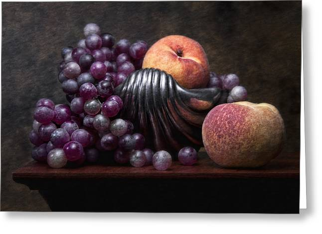 Purple Grapes Greeting Cards - Grapes with Peaches Greeting Card by Tom Mc Nemar