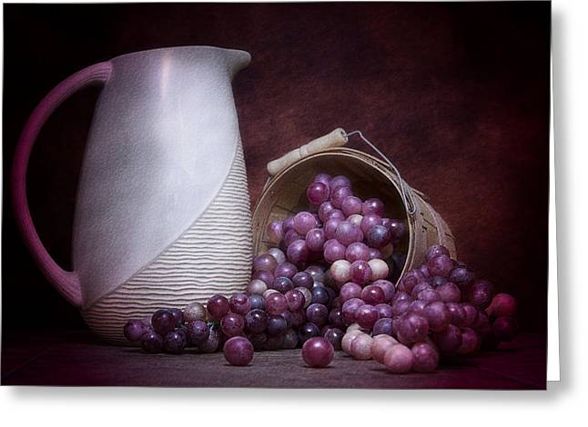 Pottery Pitcher Greeting Cards - Grapes with Pitcher Still Life Greeting Card by Tom Mc Nemar
