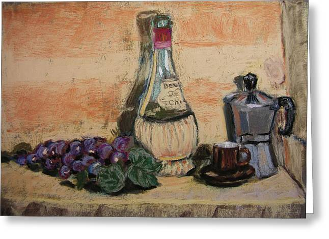 Fruit And Wine Pastels Greeting Cards - Grapes with Wine and Espresso Greeting Card by Mary Capriole