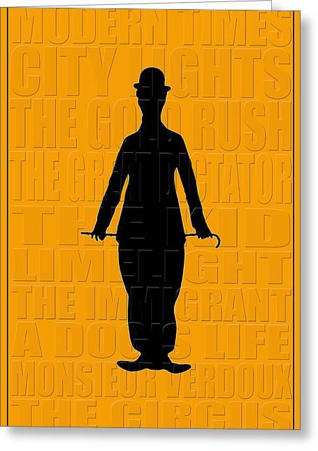 Comedian Greeting Cards - Graphic Chaplin Greeting Card by Andrew Fare
