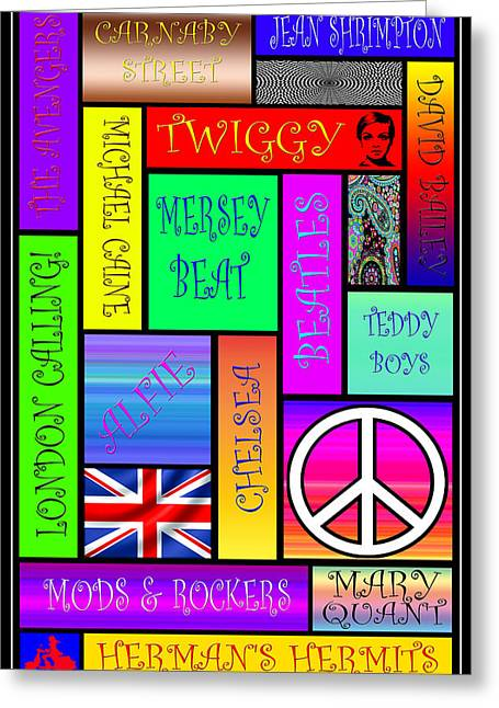Twiggy Greeting Cards - Graphic Sixties London Greeting Card by Andrew Fare