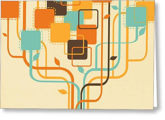 Border Digital Art Greeting Cards - Graphic Tree Greeting Card by Setsiri Silapasuwanchai