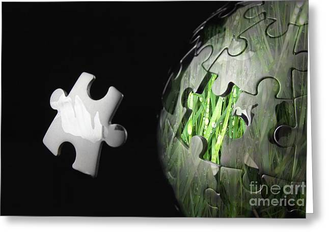 Controlling Development Greeting Cards - Grass jigsaw globe Greeting Card by Simon Bratt Photography LRPS