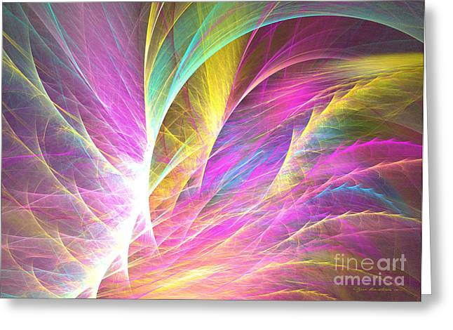 Interior Still Life Mixed Media Greeting Cards - Grass of dreams - abstract art Greeting Card by Abstract art prints by Sipo