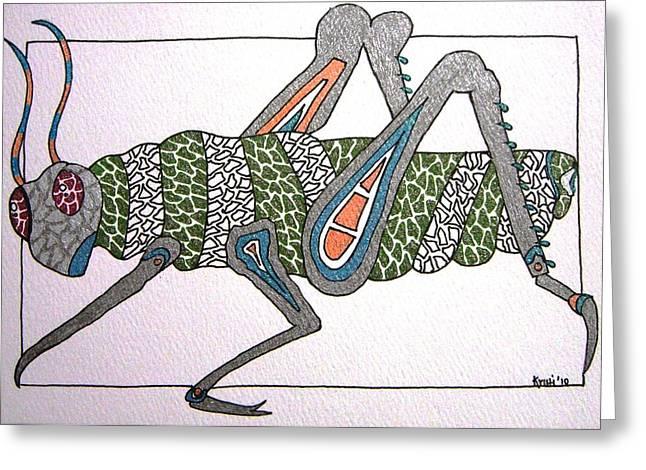 Grasshopper Paintings Greeting Cards - Grasshopper I Greeting Card by Kruti Shah