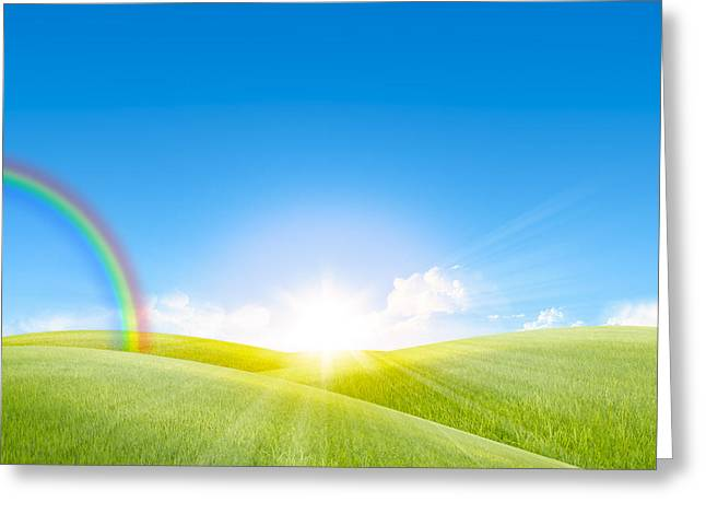 Paradise Meadow Greeting Cards - Grassland In The Sunny Day With Rainbow Greeting Card by Setsiri Silapasuwanchai