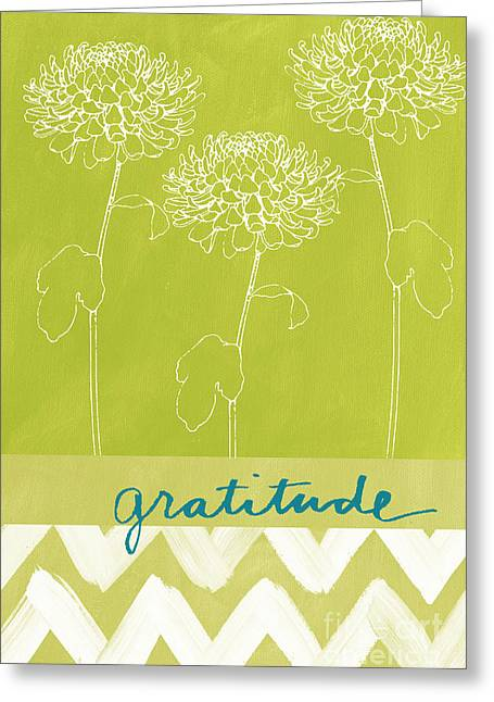 Sage Green Greeting Cards - Gratitude Greeting Card by Linda Woods