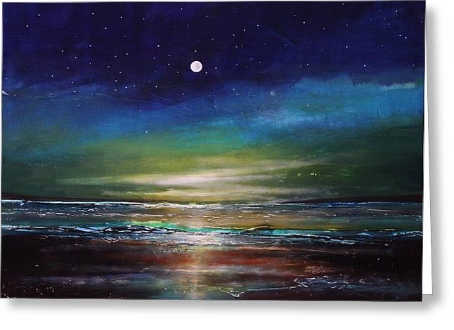Moon Beach Greeting Cards - Gratitude Night Greeting Card by Toni Grote