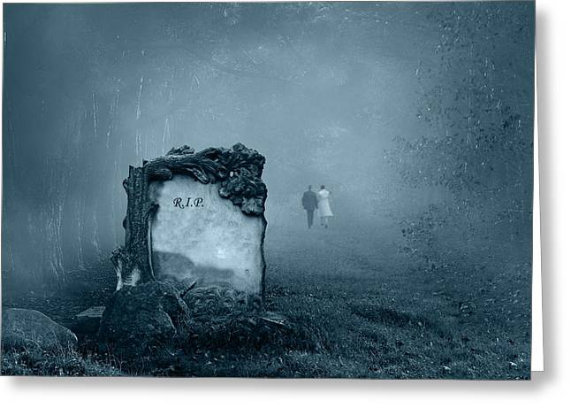 Ghostly Digital Greeting Cards - Grave in a forest Greeting Card by Jaroslaw Grudzinski