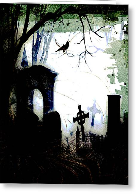 Fog Mist Drawings Greeting Cards - Grave Situation Greeting Card by Carl Rolfe