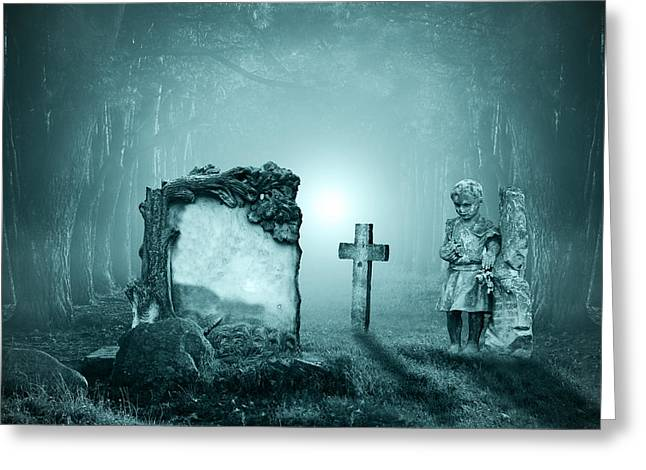 Ghostly Digital Greeting Cards - Graves in a forest Greeting Card by Jaroslaw Grudzinski