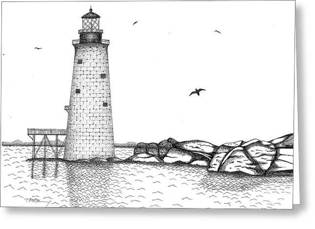 Boston Ma Drawings Greeting Cards - Graves Lighthouse - Boston Greeting Card by Tim Murray