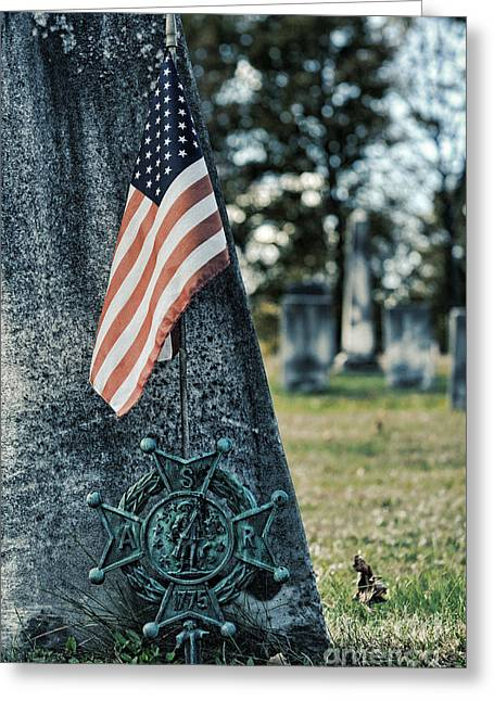 Flag Of Usa Greeting Cards - gravestone with the Sons of the Revolution grave ma Greeting Card by HD Connelly