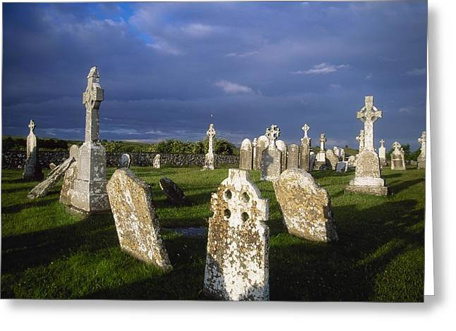 Headstones Greeting Cards - Graveyard, Clonmacnoise, County Offaly Greeting Card by Gareth McCormack