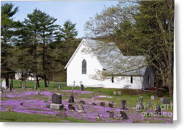 Purple Phlox Greeting Cards - Graveyard Phlox Country Church Greeting Card by John Stephens