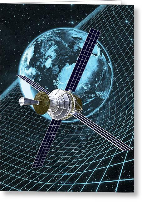 Mass Effect Greeting Cards - Gravity Probe B Satellite, Artwork Greeting Card by Carl Goodman