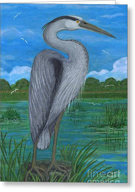 Anna Maciejewska-dyba Greeting Cards - Gray Heron Greeting Card by Anna Folkartanna Maciejewska-Dyba