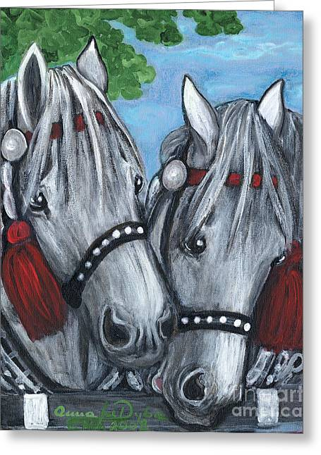 Anna Maciejewska-dyba Greeting Cards - Gray Horses Greeting Card by Anna Folkartanna Maciejewska-Dyba