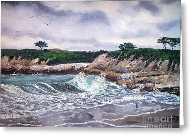Santa Cruz Art Greeting Cards - Gray Morning at Santa Cruz Greeting Card by Laura Iverson