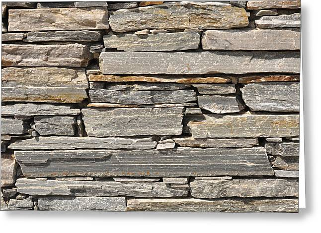 Material Composition Greeting Cards - Gray Stone Brick Wall Greeting Card by Brandon Bourdages