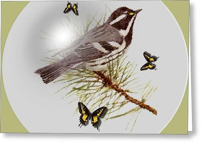 Warbler Digital Art Greeting Cards - Gray Warbler Greeting Card by Madeline  Allen - SmudgeArt