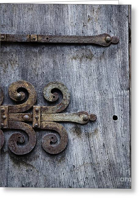 Straps Greeting Cards - Gray Wooden Doors With Ornamental Hinge Greeting Card by Agnieszka Kubica