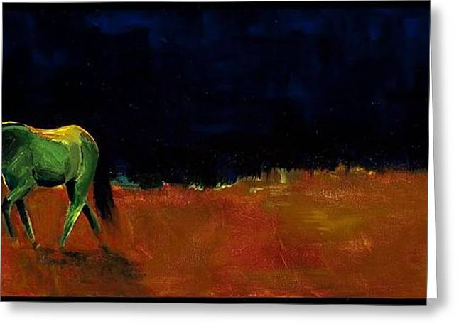 Abstract Equine Greeting Cards - Grazing In The Moonlight Greeting Card by Frances Marino
