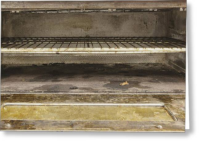 Residential Structure Greeting Cards - Greasy Burned Out Gas Oven With Rack Greeting Card by Douglas Orton
